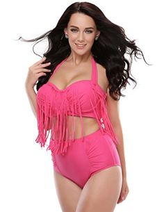 c3c12a69a927d Kathlena Women s Plus Size Retro High Waist Braided Fringe Bikini Swimwear