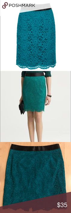 L'Wren Scott Banana Republic lace skirt size 14 L'Wren Scott for Banana Republic teal lace skirt size 14, new with tags. Back zip. Fully lined. Waist: 34 inches (no stretch). Length: 22 inches. L'Wren Scott at Banana Republic Skirts Pencil