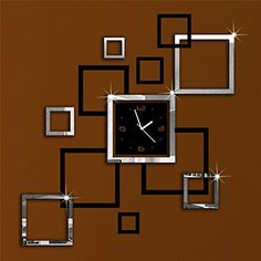 Wawoo Creative Square Quadrate 3D Mirror Surface Wall Clock for Modern Home Decoration, Removable Acrylic DIY Self Adhesive Wall Stickers Decal Wall Clock Set for Home Living Room Decoration * For more information, visit now : home diy wall