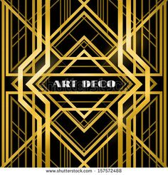 abstract geometric pattern, art deco style, a gold grill on a black background by Marochkina Anastasiia, via Shutterstock