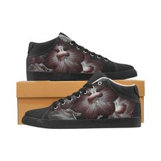 Dark floral design limited edition chukka canvas for women has arrived to our online store. Wear it with your favorite black jeans and matching teeshirt.  Available online only Dark Fashion, Gothic Fashion, Sneakers Fashion, Shoes Sneakers, Favourite Festival, Watercolor Fashion, Canvas Sneakers, Gothic Girls, Black Love
