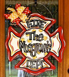 Fire Door Hanger Maltese Cross gift for by DoorCreationsbyJess
