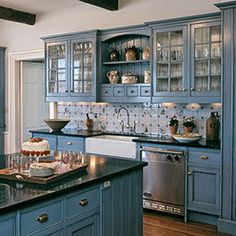 Blue Kitchen Design, Pictures, Remodel, Decor and Ideas
