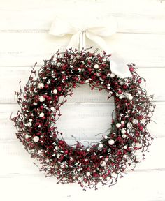 RED & WHITE CHRISTMAS Door WreathHoliday by WildRidgeDesign