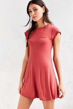BDG Cap-Sleeve Camper Pocket Rib Dress - Urban Outfitters