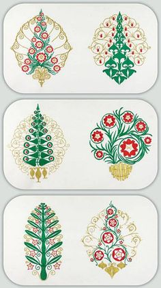 BFC-Creations Machine Embroidery Art Nouveau Christmas Trees I found some Art Nouveau images that were done in pastels. I couldn't help seeing Christmas trees! You can stitch these for Christmas or use other colors to use year round. They come in Medium, Large and Jumbo.
