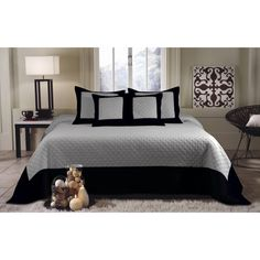 Brentwood Deluxe 5-piece Storm Grey/Black Bedspread Set | Overstock.com Shopping - Great Deals on Bedspreads