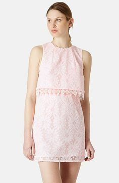 Topshop Lace Tiered Shift Dress available at #Nordstrom