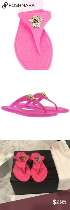 Versace Thong slides Bubble Gum Pink Versace Medusas Thong Slides. Barely ever worn comes with box, dust bag and the Versace gift box if requested. Versace Shoes Sandals