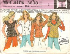 Sewing Retro Patterns MOMSPatterns Vintage Sewing Patterns - McCall's 3838 Vintage Sewing Pattern PRETTY Extra Carefree Bohemian Babydoll Smock Top Blouse, Empire Waist, Button Front, Puff or Flutter Sleeve, Tie Back - Mccalls Sewing Patterns, Vintage Sewing Patterns, Clothing Patterns, Sewing Art, Sewing Ideas, Sewing Projects, Retro Pattern, Top Pattern, 70s Fashion