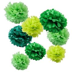 """WYZworks Set of 8 (Assorted Green Color Pack) 8"""" 10"""" 12"""" Tissue Pom Poms Flower Party Decorations for Weddings, Birthday, Bridal, Baby Showers Nursery Décor WYZworks http://www.amazon.com/dp/B00SC8PPT8/ref=cm_sw_r_pi_dp_L2GMwb0S5W7CH"""