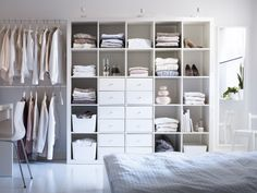Just because you want to cut the clutter, doesn't mean you have to toss your stuff. The EXPEDIT collection offers storage solutions to keep your bedroom under control.