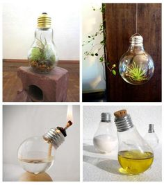 The Best Craft Ideas with Light Bulbs - 5 DIY Tutorials. Not sure what to do with the light bulbs piling up at home? Although throwing them out in the proper recycling bin is a good. Crafts To Make, Fun Crafts, Craft From Waste Material, Mini Bottles, Bottle Lights, Recycling Bins, Wooden Crafts, Diy Tutorial, Light Bulb