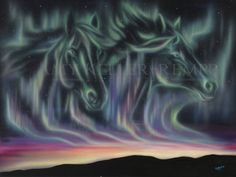 Sky Dance Series of Horses by Amy Keller-Rempp Art. x acrylic on canvas, acrylic on canvas, original still available, giclee prints and art cards available. Canadian Wildlife, Aboriginal Artists, Spirit Animal, Giclee Print, Northern Lights, Amy, Survival, Art Cards, Prints