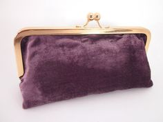 Purple Velvet Clutch Purse with Kiss-Lock Frame by Wink2Beth