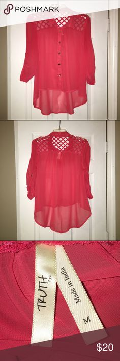 Coral Button Down Size M, this cage back button down coral blouse is the perfect addition to any wardrobe! Gold buttons and unique open back design. NWOT, this has never been worn. Bundle and save 15% or make an offer, no trades! Tops Button Down Shirts