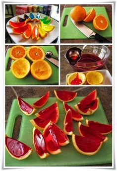 diy orange jello slices ideas craft ideas diy ideas diy crafts decorations crafty food party ideas diy food easy food crafts party food diy fruit diy party -OMFG i'm gonna try this! Orange Jello Shots, Jello Orange Slices, Fruit Jello Shots, Jello Desserts, Fruit Dessert, Party Desserts, Comida Diy, Good Food