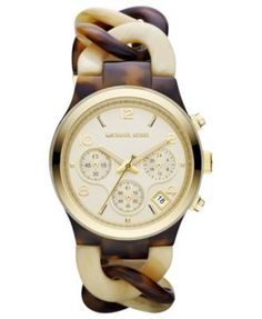 Michael Kors Watch, Womens Chronograph Tortoise and Horn Acetate Bracelet \