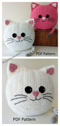 6 Fun Animal Cat Pillow Free Crochet Pattern and Paid Fun Animal Cat Cushion Crochet Pattern The Fun Animal Cat Pillow Free Crochet Pattern has adorable designs, which little ones will love cuddling up with. This would be a wonderful gift for a cat lover. Chat Crochet, Crochet Amigurumi, Crochet Toys, Knitting Toys, Crochet Pillow Patterns Free, Crochet Beanie Pattern, Vest Pattern, Poncho Patterns, Crochet Tunic