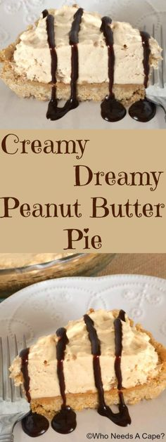 This almost no-bake Creamy Peanut Butter Pie is easy to prepare and oh so yummy! With a homemade crust a layer of peanut butter and a creamy… Peanut Butter Desserts, Creamy Peanut Butter, Peanut Butter Pie Recipe No Bake, Whipped Butter, Lemon Butter, Easy Desserts, Delicious Desserts, Yummy Food, Pie Dessert