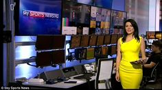 Bright: Natalie Sawyer took control of the iPad as Sky Sports News brought fans up to date. Pale Skin, Sports News, Black Hair, Bring It On, Ipad, Fans, Celebs, Bright, Sky