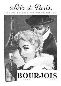 An elegant 1957 Bourjois perfume ad. #vintage #1950s #beauty #ads: