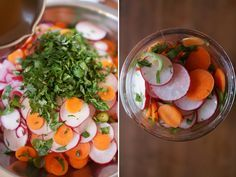 pickled radishes for mexican dishes- I would def cut some of the sugar and add more heat next time, but otherwise those is a good base. Pickled Olives, Pickled Radishes, Pickled Carrots, Canning Recipes, Raw Food Recipes, Mexican Food Recipes, Mexican Cooking, Vegetable Recipes, Dried Vegetables