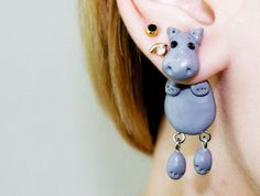 clinging earrings | animal fake gauge, hippopotamus clinging earrings, fake plug, two part ...