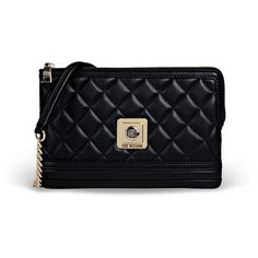 Love Moschino Medium Leather Bag ($205) ❤ liked on Polyvore featuring bags, handbags, shoulder bags, black, shoulder strap handbags, black leather shoulder bag, leather purse, metallic handbags and shoulder strap bag