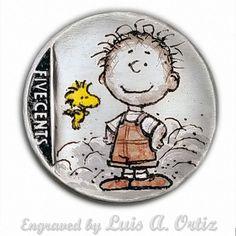 Pigpen & Woodstock #500 Hobo Nickel Hand Engraved & Colored by Luis A Ortiz