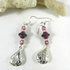 Boucles d'oreilles argent violette , pendants d'oreilles argent violine , idée cadeau femme