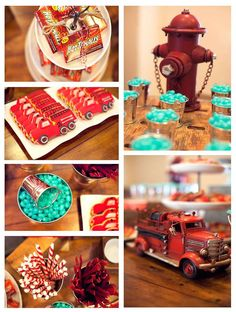 Red striped straws, Aqua jelly beans/ vintage fire hydrant and vintage fire truck--- this is a great party