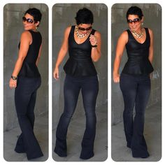 black peplum and jeans