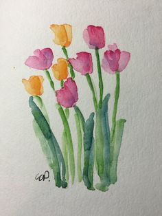 Tulips Watercolor Card / Hand Painted Watercolor by gardenblooms