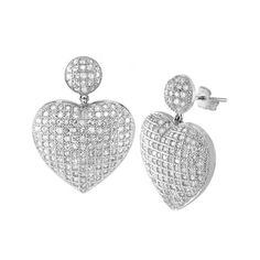 925 Sterling Silver Micro Pave Clear CZ Heart Fancy Dangling Women's Earrings | eBay