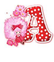 Alfabeto animado de muñeca flotando.