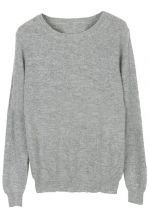 Grey Round Neck Long Sleeve Pullovers Sweater.