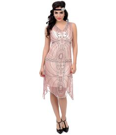 1920s Flapper Dress - Unique Vintage 1920s Style Pink  Silver Beaded Paradise Mesh Flapper Dress $248.00 AT vintagedancer.com