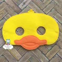 Cow Mask Template Unique Duck Mask Kids Dress Up Mask Duck Costume Mask Wool Blend Mask - Template Free Animal Masks For Kids, Animals For Kids, Mask For Kids, Toddler Duck Costume, Jungle Party Favors, Rubber Ducky Birthday, Diy For Kids, Crafts For Kids, Duck Mask