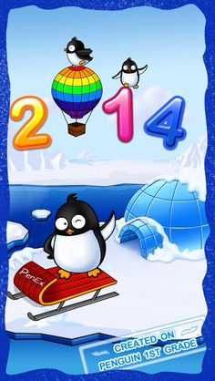 """New Year's card for Happy 2014! 1st grade kids create winter scenes on iPad app """"Penguin First Grade"""" https://itunes.apple.com/us/app/penguin-first-grade-math-reading/id659772068?mt=8"""