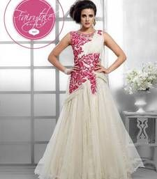 Buy Fancy designer silk light stone santoon salwar and net gown kameez party-wear-gown online