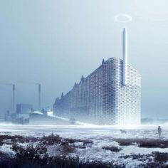 Amager Bakke Waste-to-Energy Plant in Amager, Copenhagen, by BIG, features a ski slope