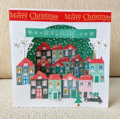 Have you seen the Jolly Holidays paper pad from Trimcraft ? I've used the papers from it along with a street lamp die from the First E. Christmas Cards 2018, Christmas Paper, Christmas Holidays, Merry Christmas, Xmas, Jolly Holiday, Paper Crafts, Street Lamp, Projects