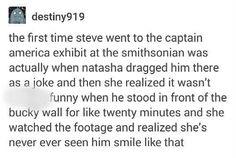 Captain America (MCU) - Steve Rogers x Bucky Barnes - Stucky headcanon Natasha smithsonian exhibit smile Marvel Memes, Marvel Avengers, Marvel Comics, Newt Thomas, Game Poster, Hulk, Bucky And Steve, Romanogers, Bubbline