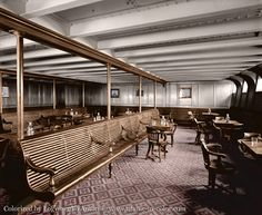 Titanic - colorized photo of 3rd Class Smoking Room