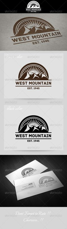 West Mountain Vintage Logo — Vector EPS #west #sky • Available here → https://graphicriver.net/item/west-mountain-vintage-logo/4627722?ref=pxcr