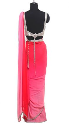 Pink Saree with Crystal Embellishment   Strandofsilk.com - Indian Designers