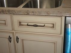 Kitchen cabinet idea: color with glaze and handles