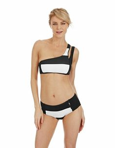 Brands | Tankini Tops | Lorimer Stripe One Shoulder Zip Swim Top | Lord and Taylor
