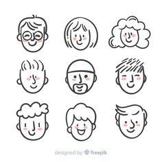 Doodle Drawings, Easy Drawings, Doodle Art, Drawing Cartoon Faces, Doodle Cartoon, Face Doodles, Kawaii Doodles, Simple Character, Character Design